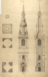 Hawksmoor's plan, elevation and section of St. Mary-le-Bow.